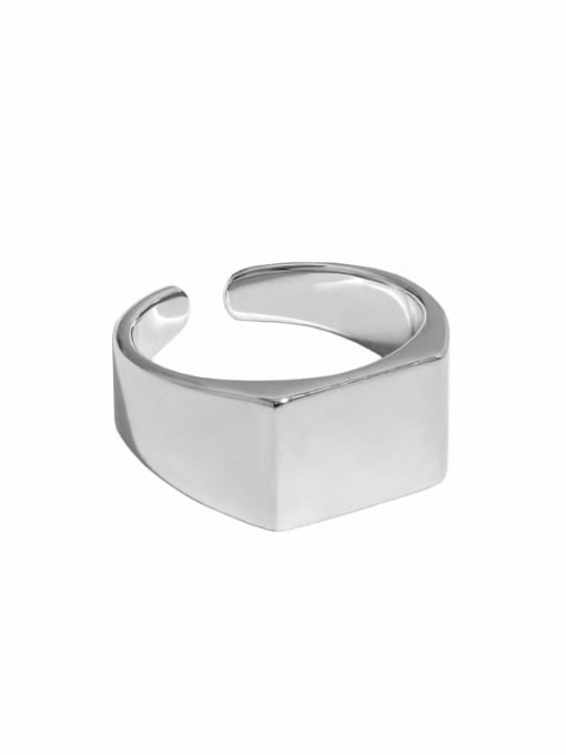 Platinum [14 adjustable] 925 Sterling Silver Geometric Minimalist Band Ring